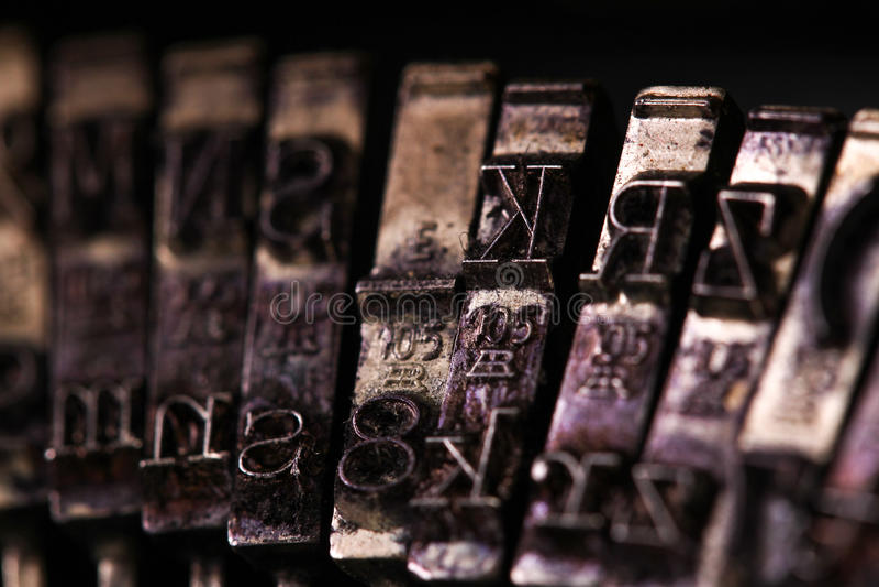 葡萄酒打字机一些字符或信件宏指令样式 免版税图库摄影