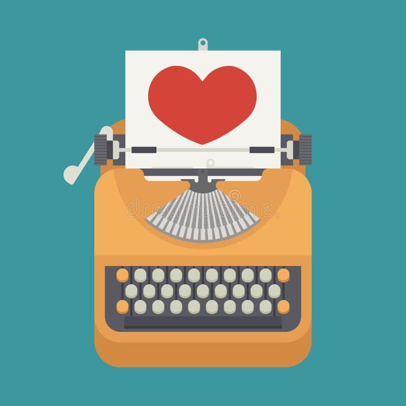 葡萄酒打字机和红色心脏在纸板料 向量例证