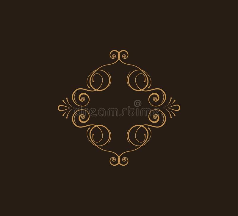 葡萄酒打旋的书法框架 装饰的边界 华丽设计元素 问候邀请,保存日期 向量 皇族释放例证