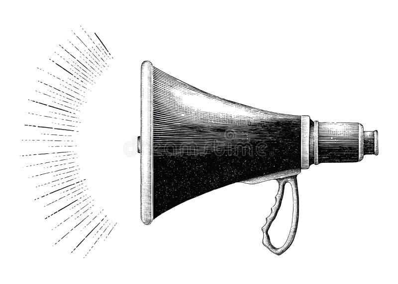 葡萄酒扩音机手图画板刻样式 向量例证