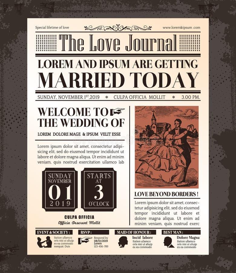葡萄酒报纸婚礼邀请卡片设计 向量例证