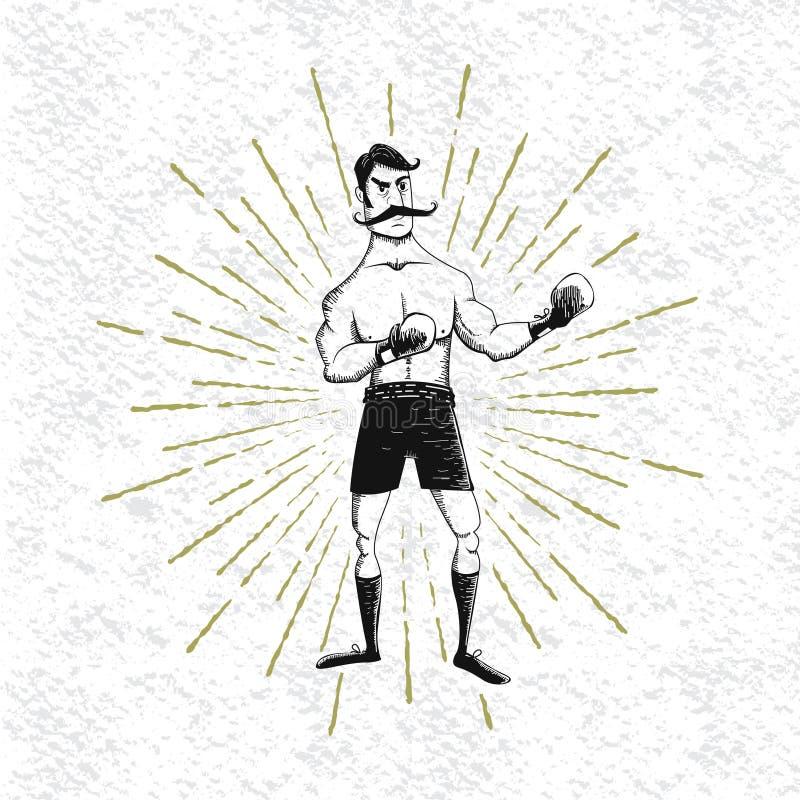葡萄酒拳击手的标志 皇族释放例证