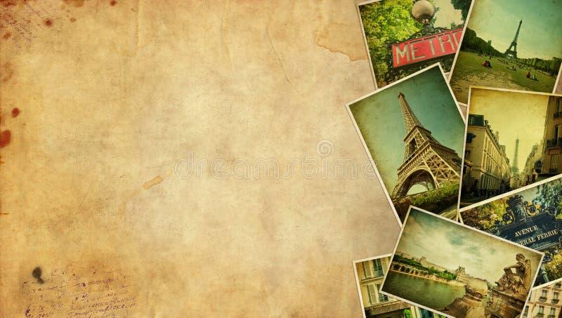 葡萄酒拼贴画。巴黎旅行空白。 免版税库存图片