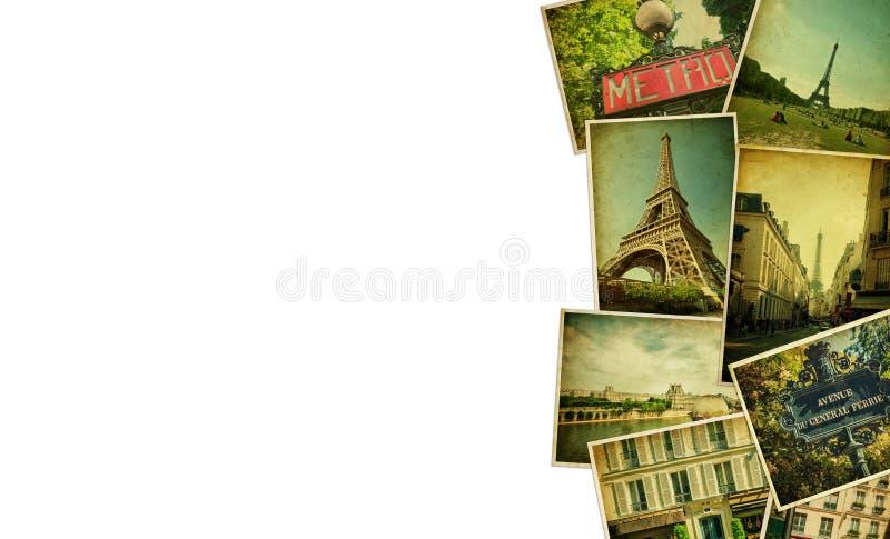 葡萄酒拼贴画 巴黎旅行空白 免版税库存图片