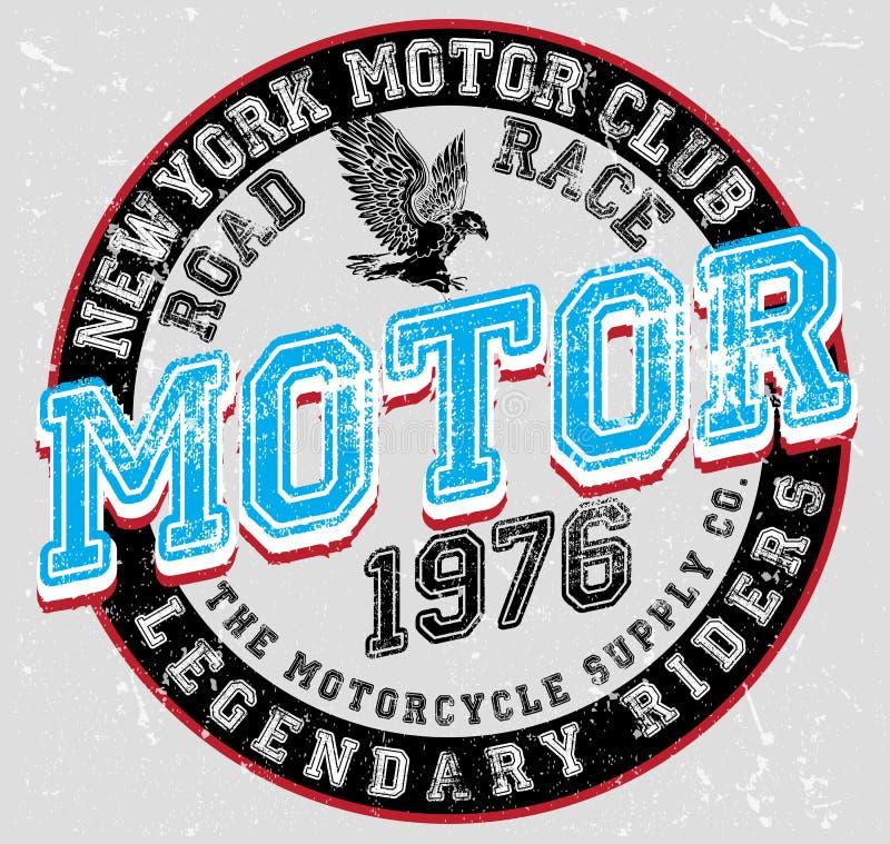 葡萄酒摩托车海报T恤杉图形设计 向量例证