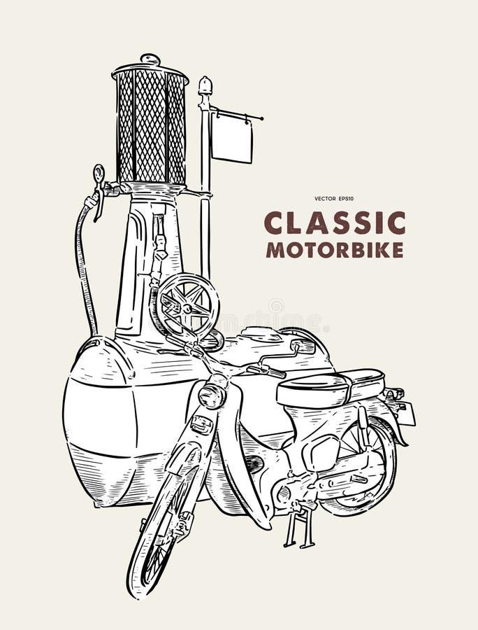 葡萄酒摩托车 r 皇族释放例证