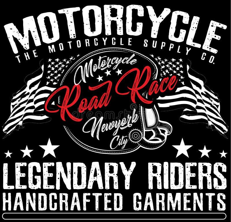 葡萄酒摩托车T恤杉图表 向量例证