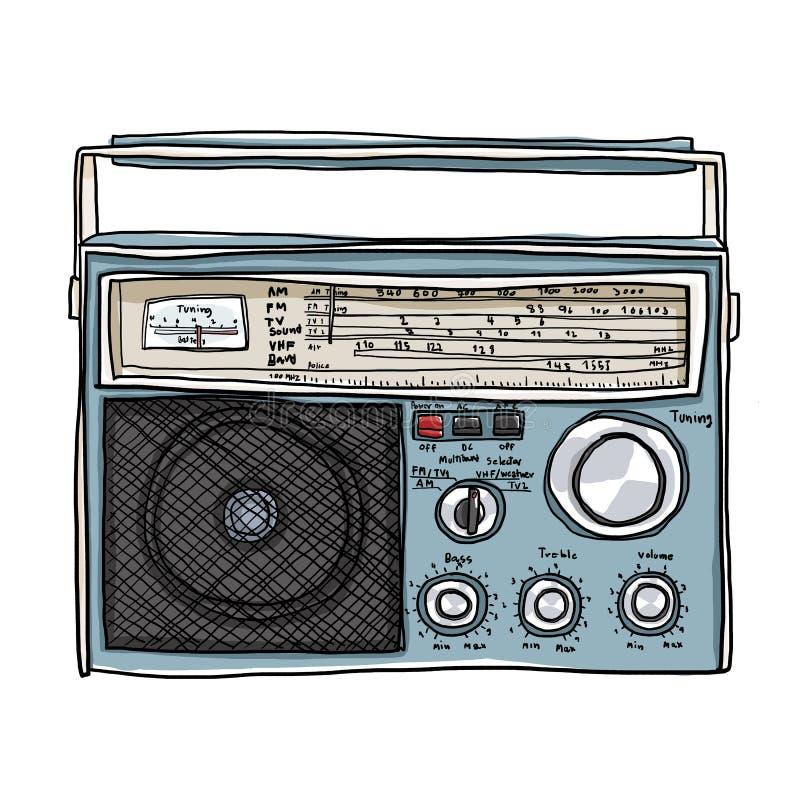 葡萄酒收音机Boombox逗人喜爱的艺术例证 库存例证