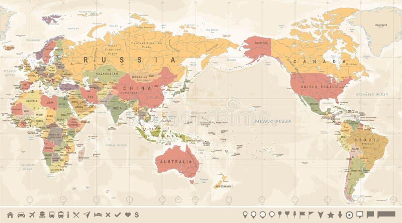 葡萄酒政治世界地图太平洋集中了 皇族释放例证