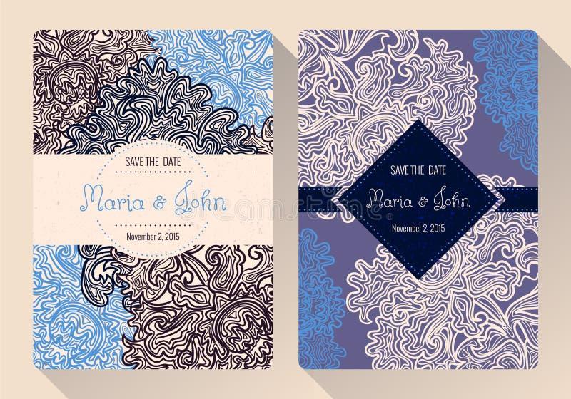 葡萄酒救球日期或婚礼邀请卡片模板 库存例证