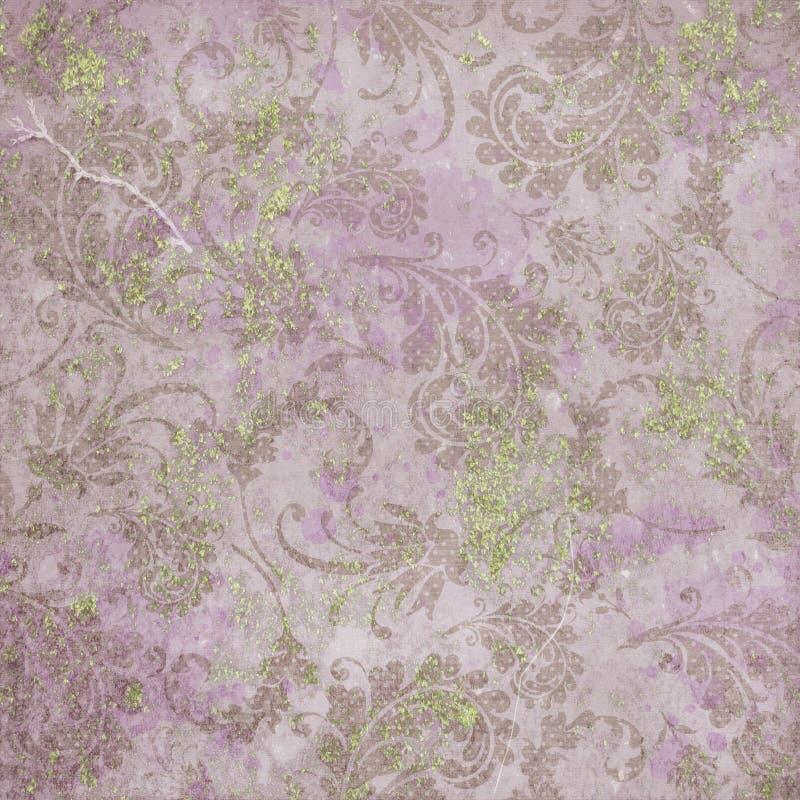 葡萄酒数字式纸背景纹理-破旧的别致的淡紫色和绿色困厄的锦缎样式 库存例证