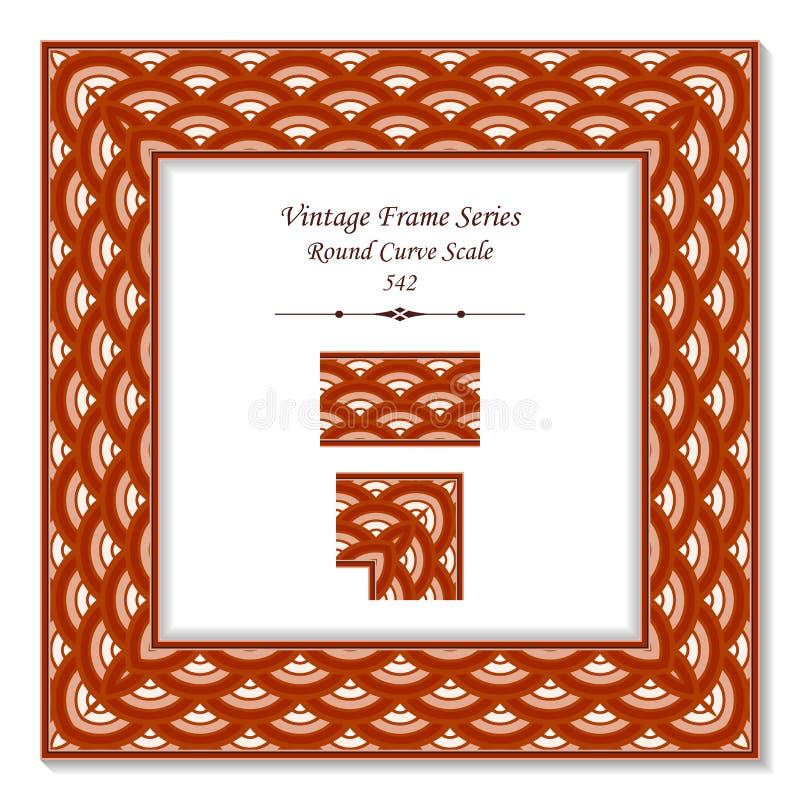 葡萄酒方形的3D框架圆的发怒红色标度 皇族释放例证