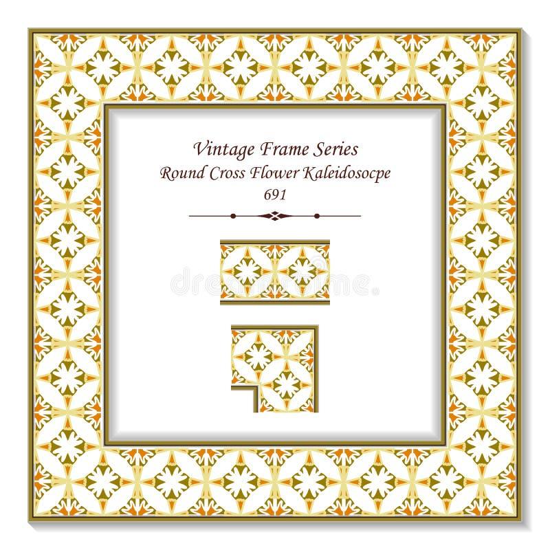 葡萄酒方形的3D框架圆的曲线十字架花kaleidosocpe 皇族释放例证