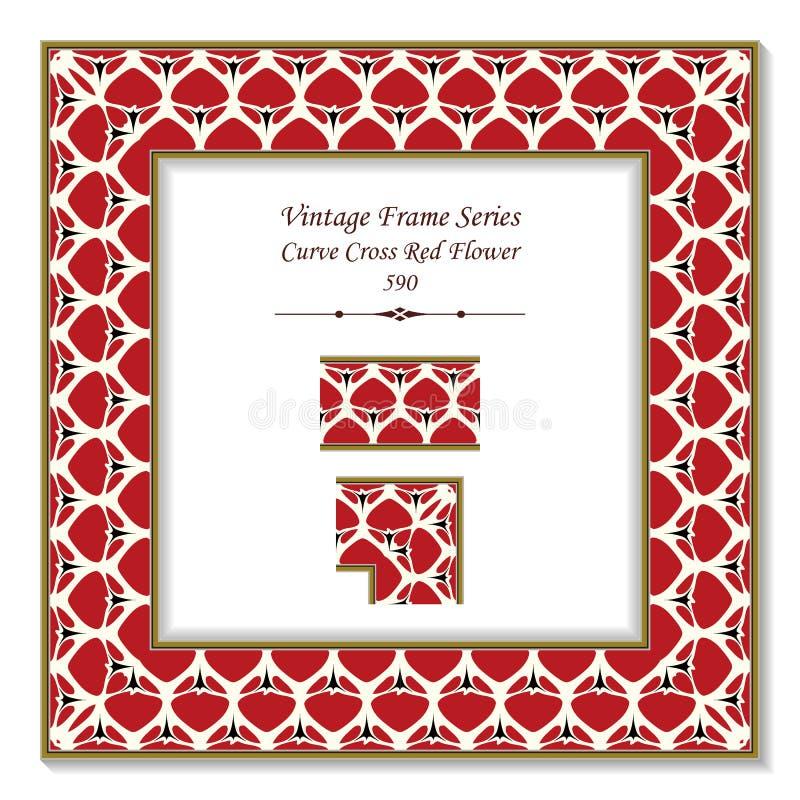 葡萄酒方形的3D框架曲线十字架庭院红色花 向量例证