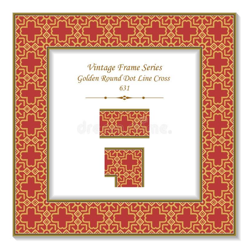 葡萄酒方形的3D框架金黄圆的小点线十字架 向量例证
