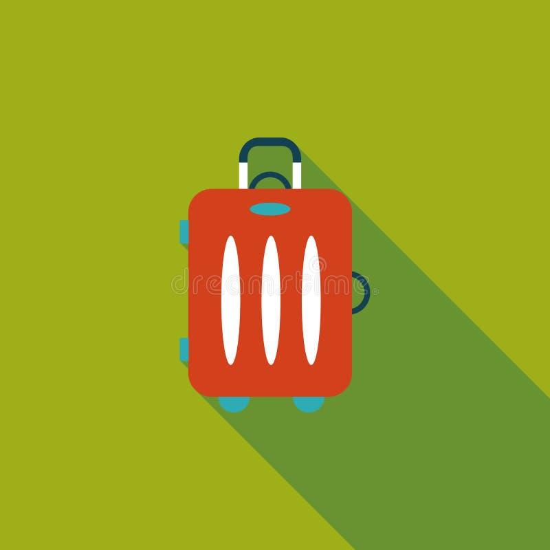 葡萄酒旅行手提箱,与长的阴影的平的象 库存例证