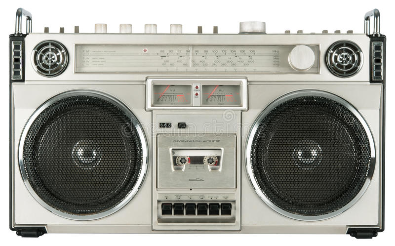 葡萄酒无线电盒式带录音机. 系统, 卡式磁带.图片