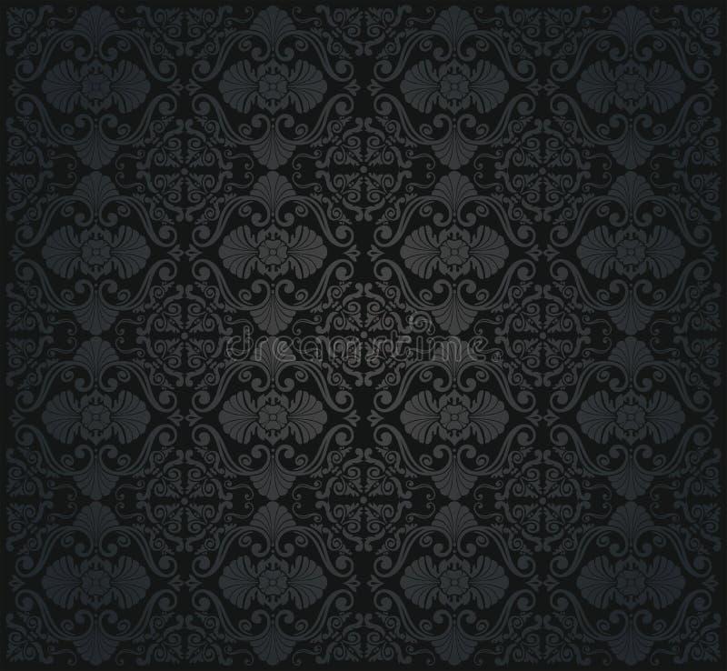 黑葡萄酒无缝的墙纸 库存例证