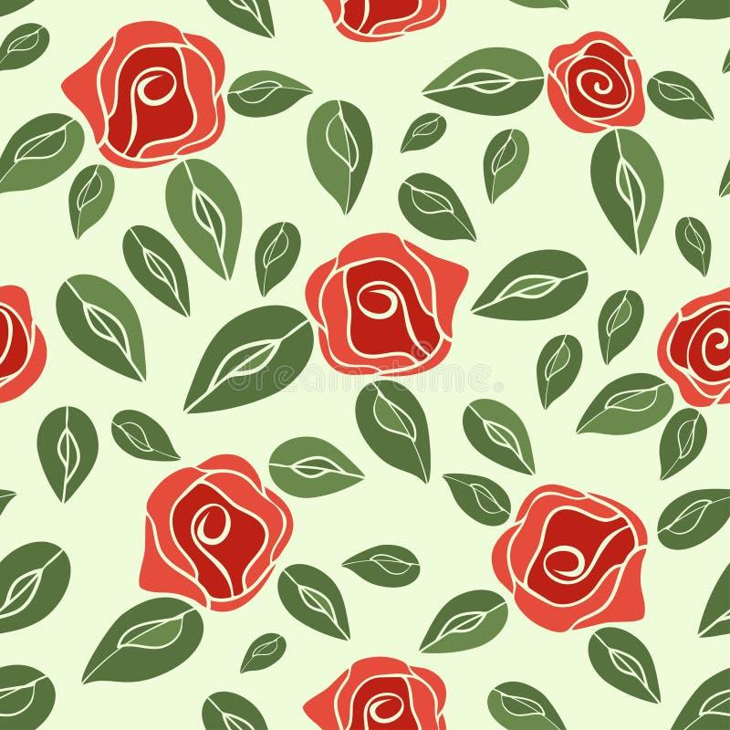 葡萄酒无缝的样式玫瑰(红色与绿色) EPS, JPG 库存例证