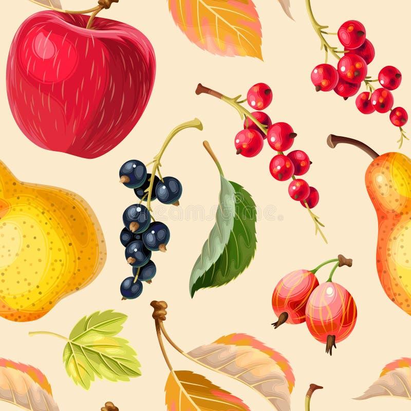 葡萄酒无缝的样式用苹果和莓果 向量例证