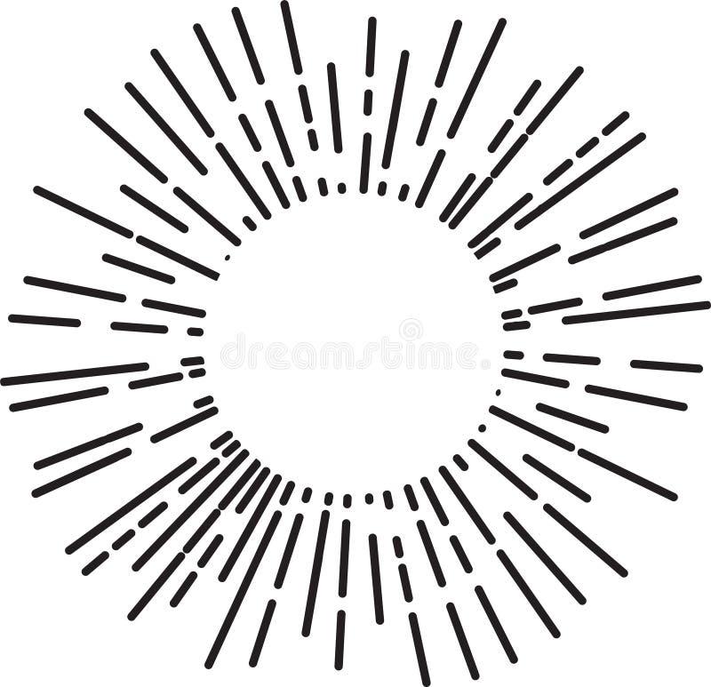 葡萄酒旭日形首饰,太阳光芒,光束,传染媒介您的设计的设计元素 皇族释放例证