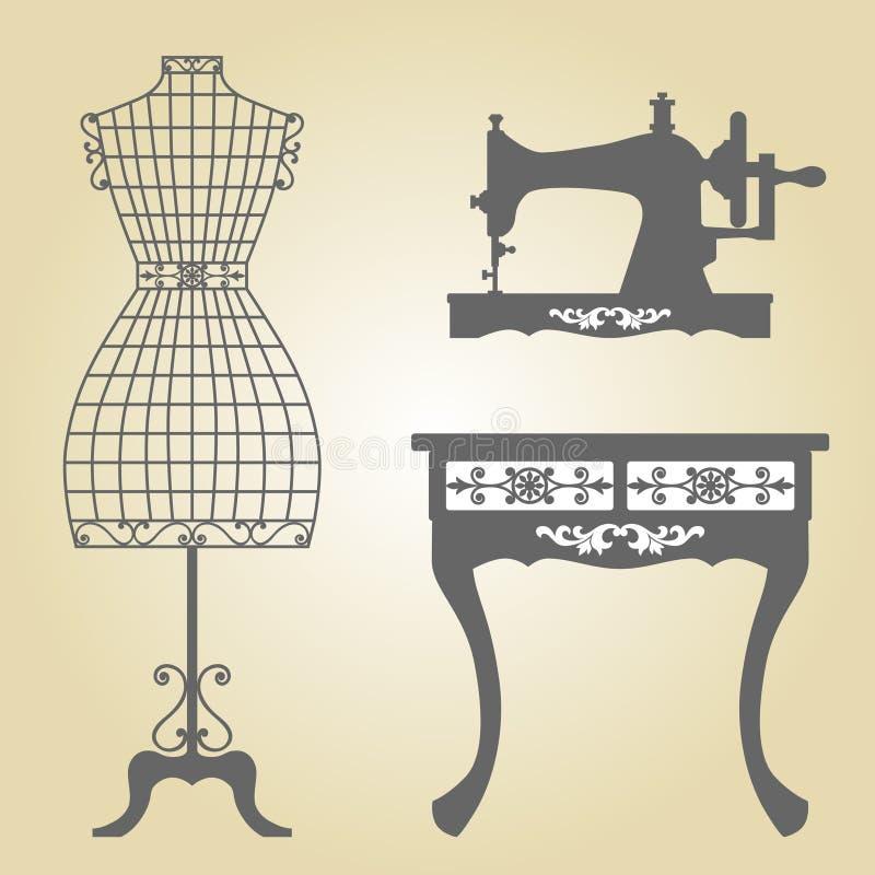 葡萄酒时装模特和缝纫机传染媒介 库存例证