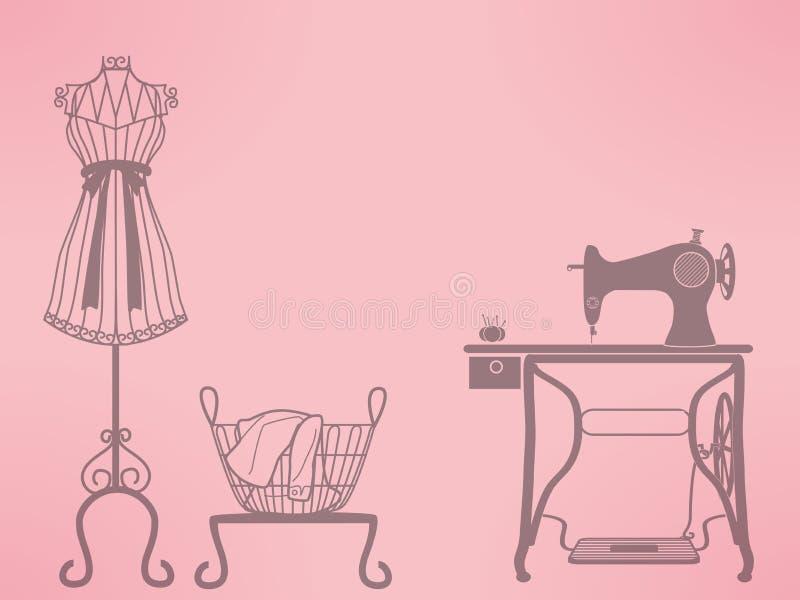 葡萄酒时装模特和缝纫机 向量例证