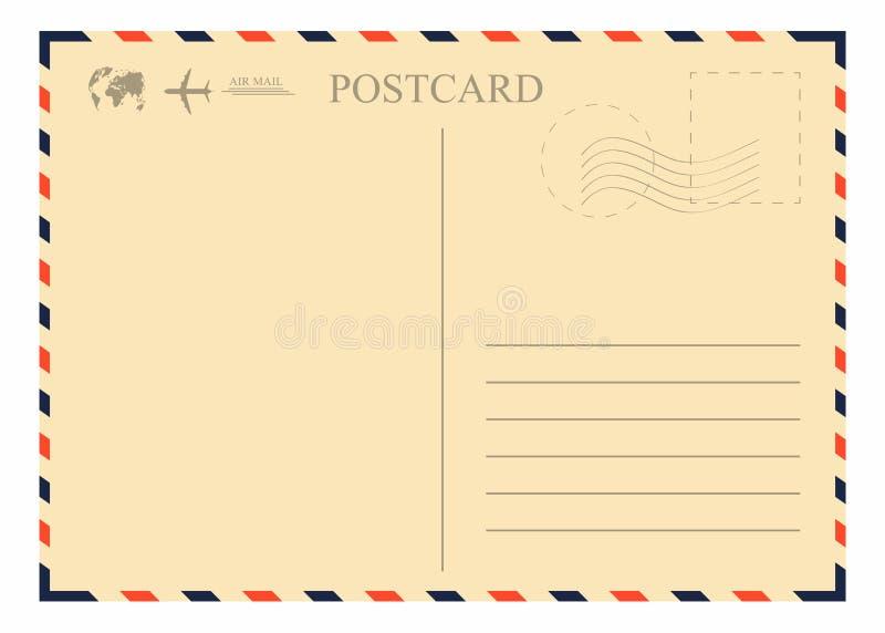 葡萄酒明信片模板 与邮票、飞机和地球的减速火箭的航寄信封 库存例证