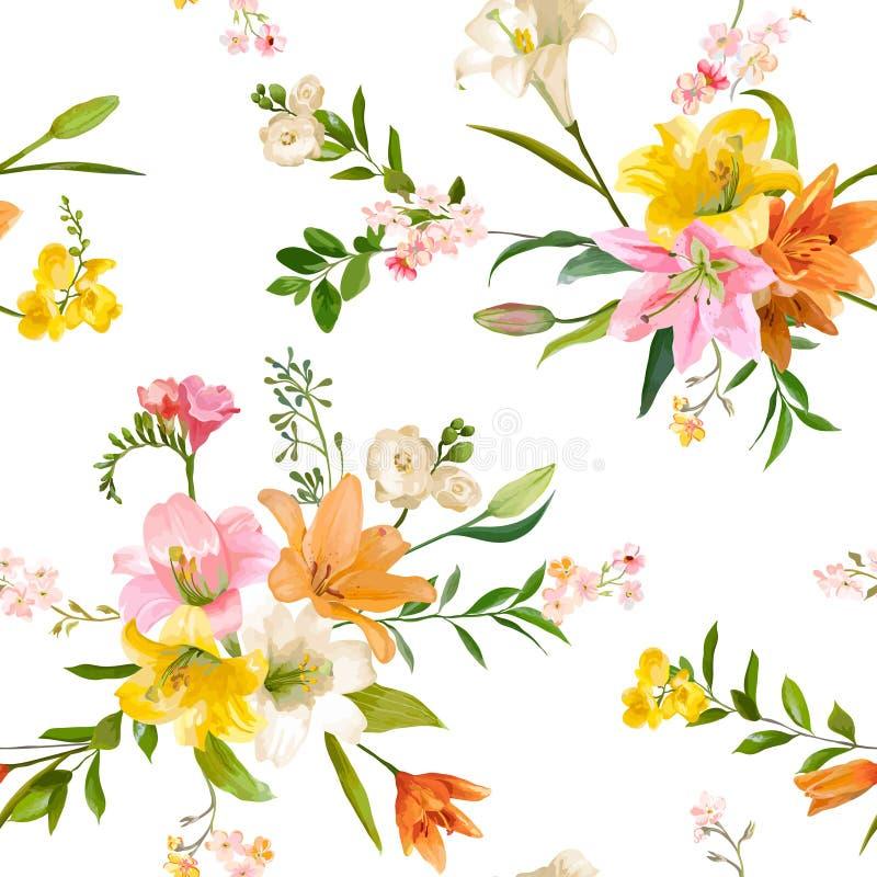葡萄酒春天开花背景-无缝的花卉百合样式 向量例证