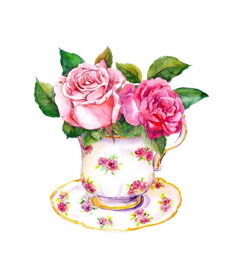 葡萄酒有玫瑰色花的茶杯 水彩 库存例证