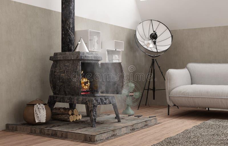 葡萄酒有老铁火炉的,现代室内设计顶楼客厅 id.图片