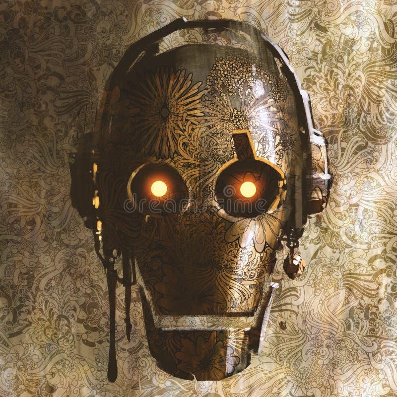 葡萄酒有花卉织地不很细的机器人头在抽象样式背景 皇族释放例证