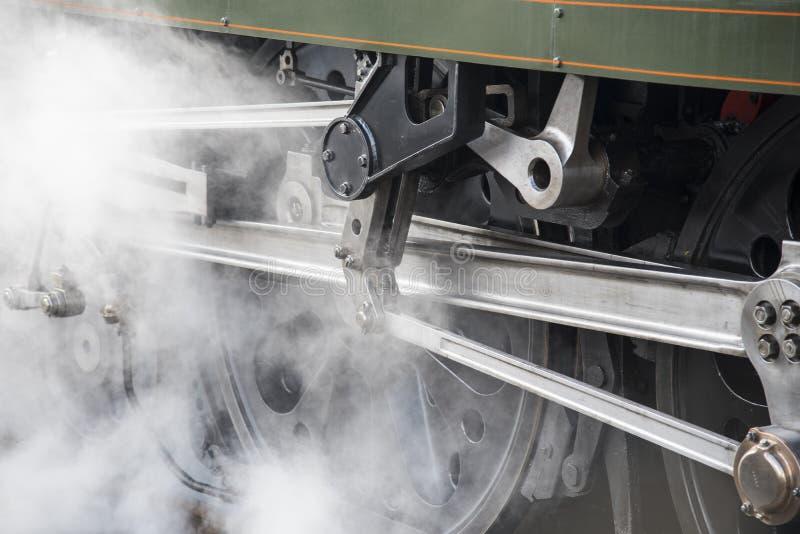 葡萄酒有蒸汽的路轨机车轮子  免版税库存照片