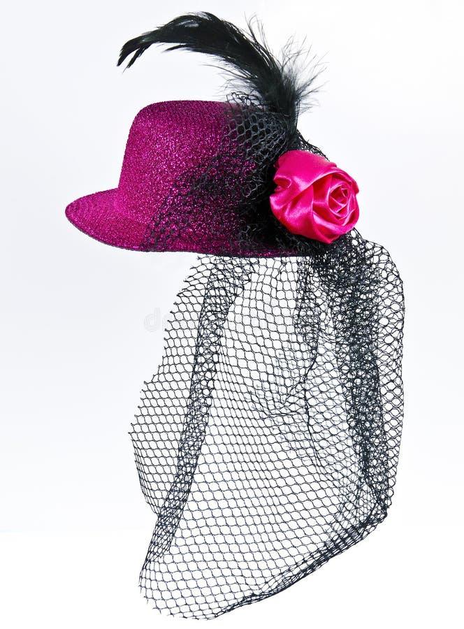 葡萄酒有黑面纱的夫人的帽子被隔绝的 免版税图库摄影