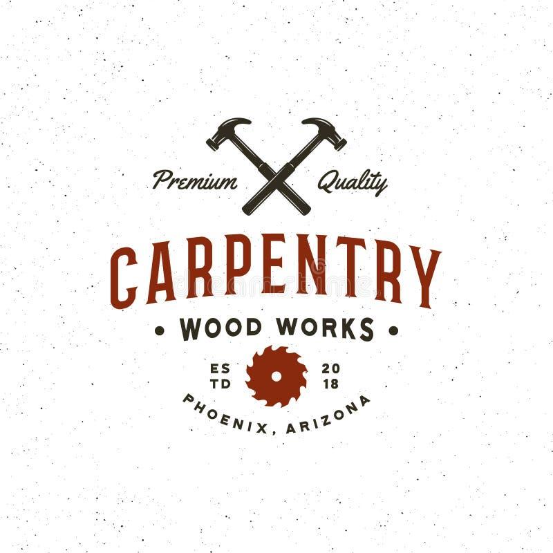葡萄酒木匠业商标 减速火箭的被称呼的木头运作象征 也corel凹道例证向量 皇族释放例证