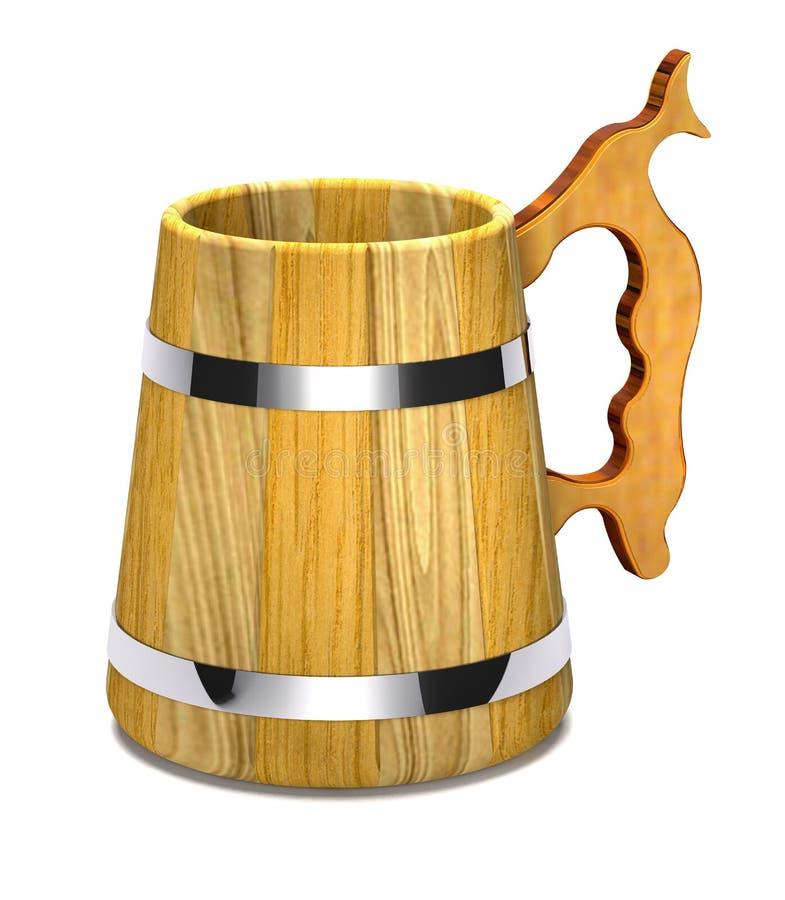 葡萄酒木啤酒杯3d例证 皇族释放例证