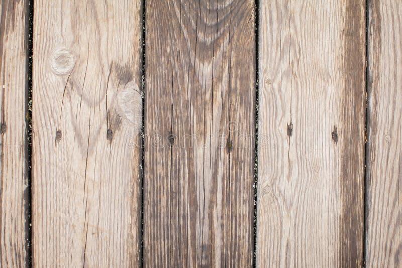 葡萄酒木头纹理 与老木盘区的背景 木地板或桌顶视图  免版税库存照片
