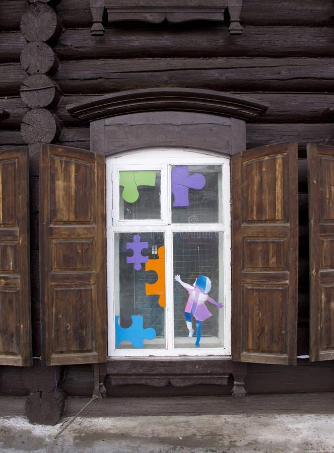 葡萄酒木窗口 库存图片