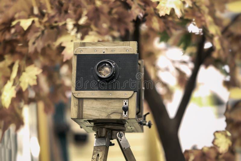 葡萄酒木视图photocamera和三脚架 减速火箭的Cocept,乡情和时间 秋天背景特写镜头上色常春藤叶子橙红 图库摄影