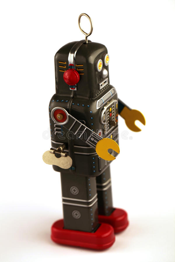 葡萄酒机器人罐子玩具 免版税库存图片