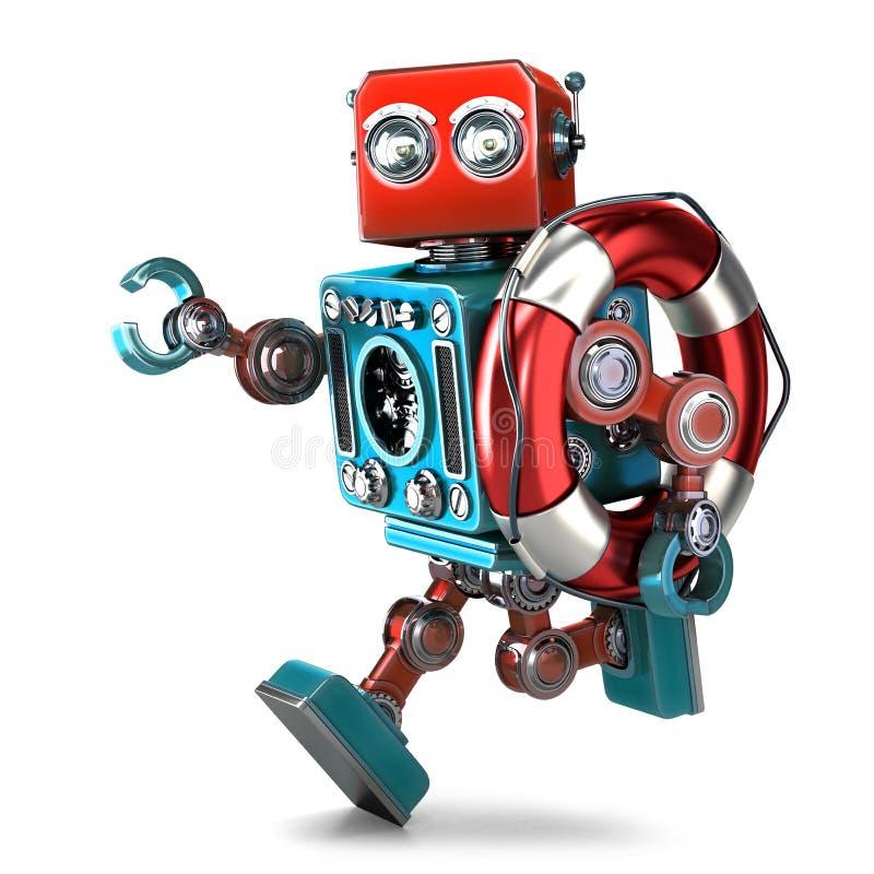葡萄酒机器人跑与lifebuoy 包含裁减路线 皇族释放例证