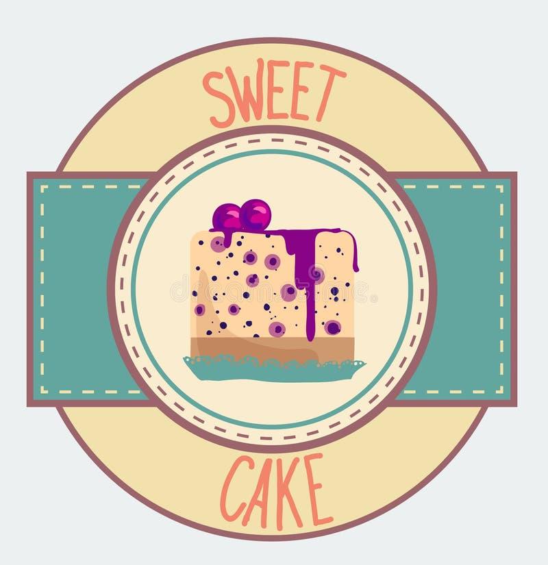 葡萄酒杯形蛋糕海报设计 库存例证