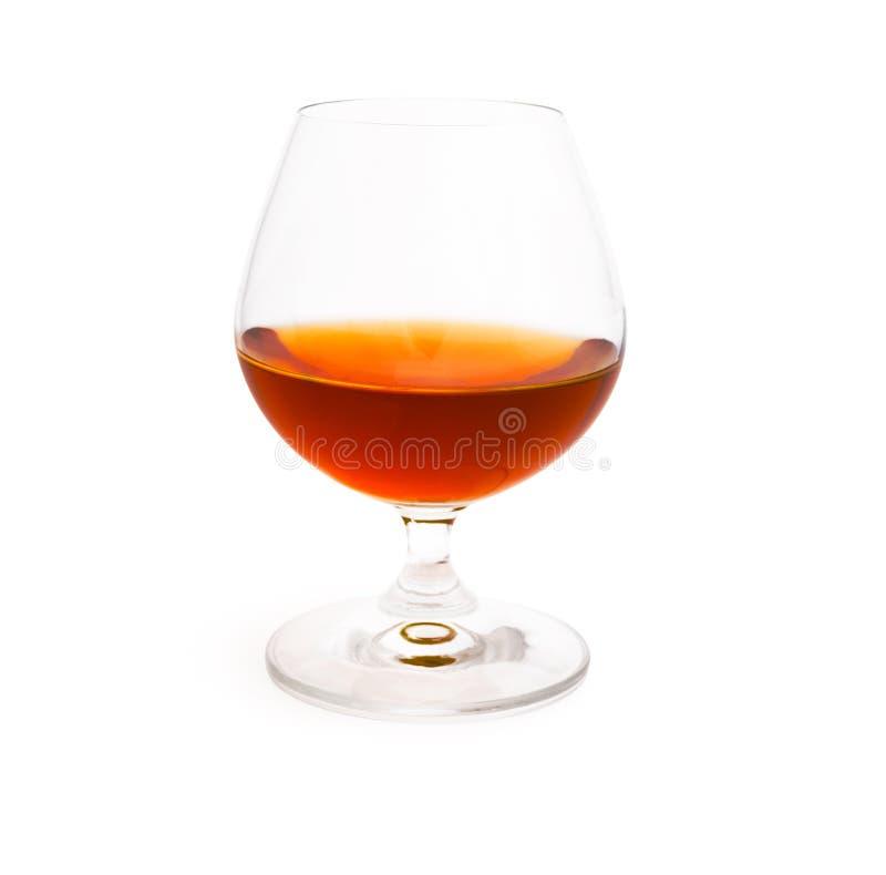 葡萄酒杯用在白色背景隔绝的科涅克白兰地 免版税库存图片