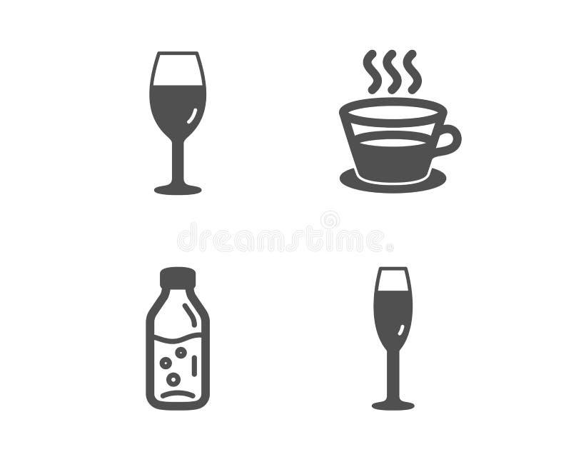 葡萄酒杯,水瓶和咖啡杯象 香宾玻璃标志 伯根地玻璃,苏打饮料,茶杯子 ?? 库存例证