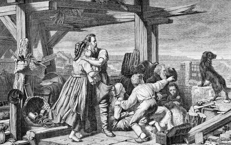 葡萄酒板刻,从的北海洪水赫尔曼阿诺德绘画  皇族释放例证