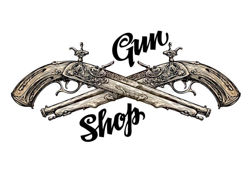 葡萄酒枪,横渡的手枪 手拉的剪影老步枪 也corel凹道例证向量 向量例证