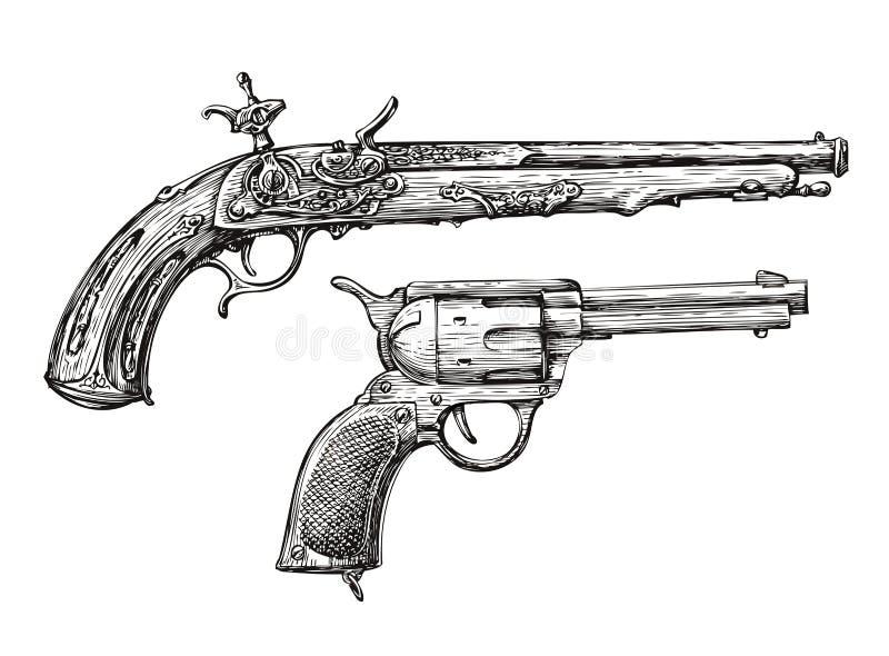 葡萄酒枪 减速火箭的手枪,步枪 左轮手枪的手拉的剪影,武器,火器 向量例证