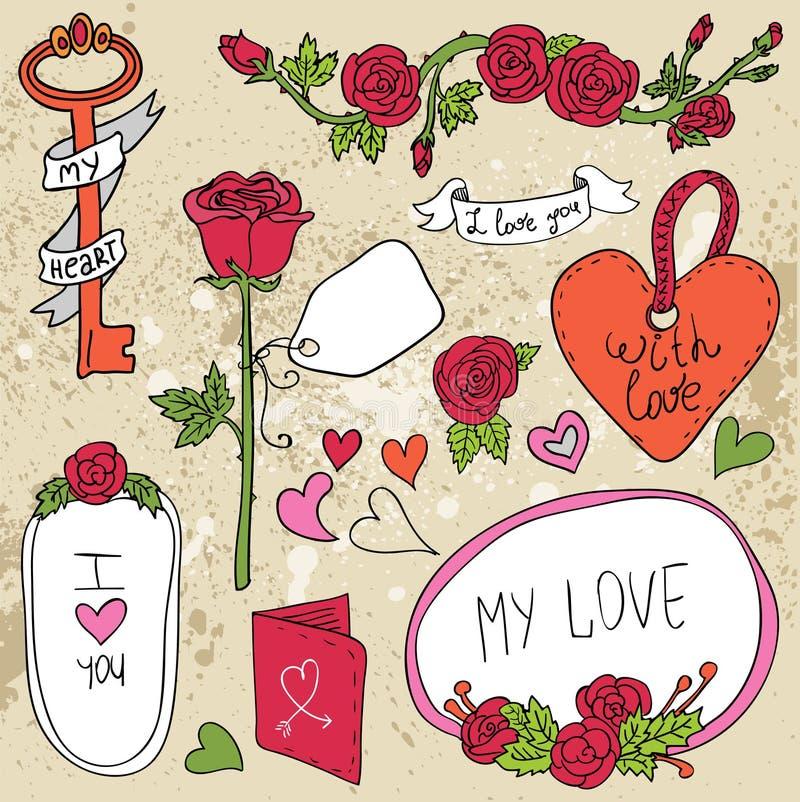 葡萄酒标号组,浪漫套标签和 皇族释放例证