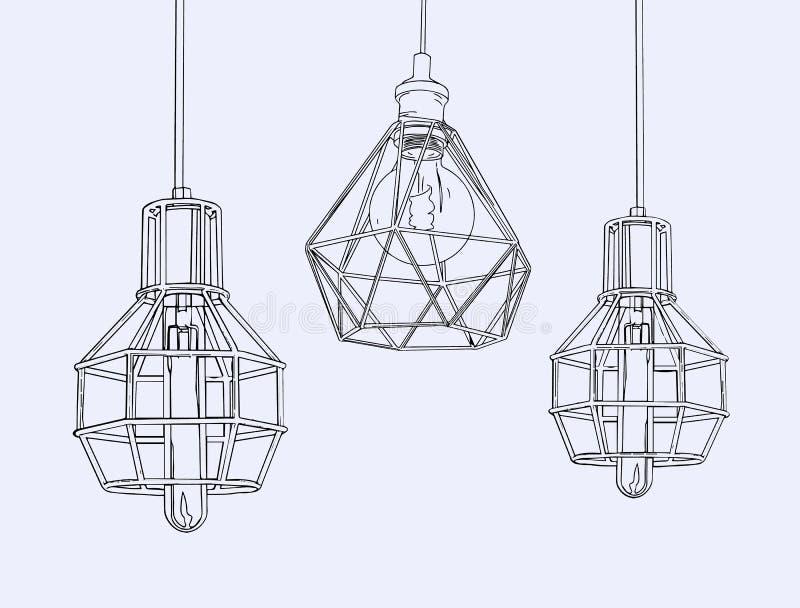 葡萄酒标志电灯泡和灯的汇集 爱迪生光 库存例证