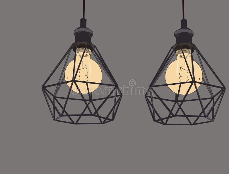 葡萄酒标志电灯泡和灯的汇集 爱迪生光 向量例证
